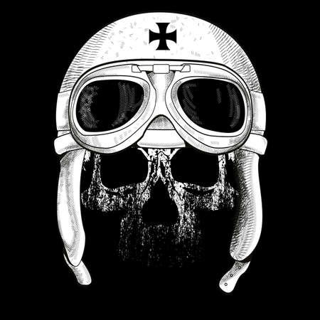 Vector illustration of a skull wearing an airplane pilot hat. Design for t-shirts or posters.