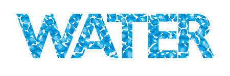 Typographic design with the word Water with light blue water texture