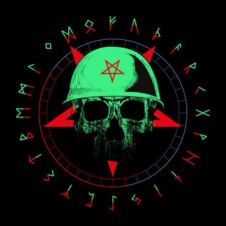 T-shirt vector design of a white skull with war helmet over a red inverted star and runic letters isolated on black.