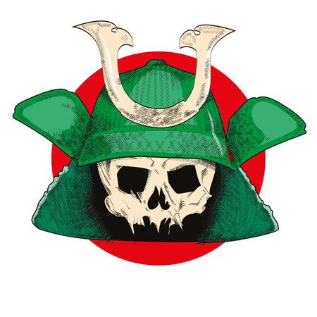 vector illustration of a skull with samurai helmet over the japan flag. Illustration