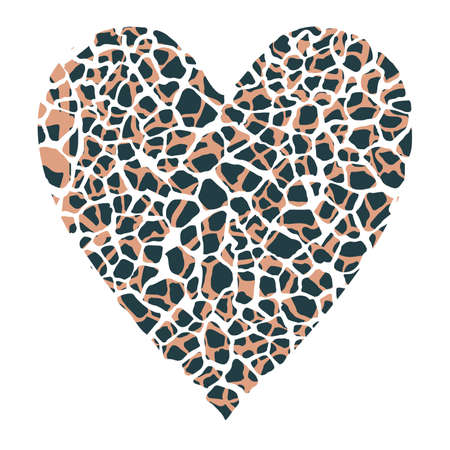 Design for a shirt of a animal print heart isolated on white