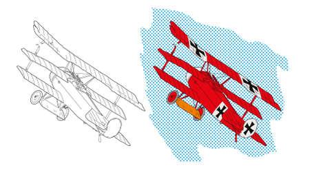 Vector illustration of a red world war I plane over blue sky. Design for children's books.