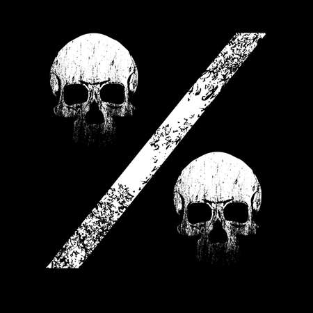 vector illustration of the percent sign formed by two skulls isolated on black