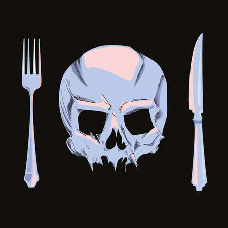 vector illustration of a skull, a knife and a fork isolated on black