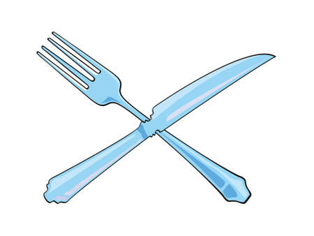 Vector illustration of a crossed knife and fork isolated on white