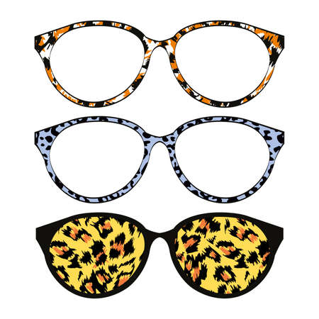 Group of three pairs of glasses with animal print. Vector illustration for advertisements and posters.