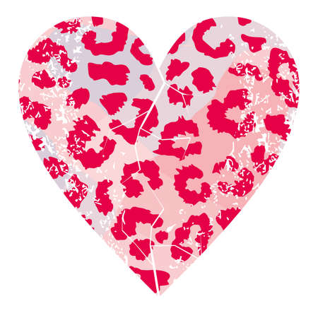 t-shirt design with vector illustration of a pink animal print heart 矢量图像