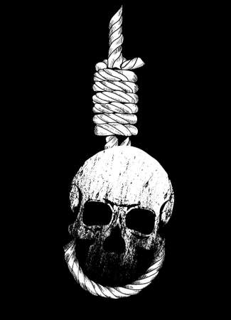 Vector illustration of a skull and gallows on black background. Design for t-shirts or posters. 矢量图像