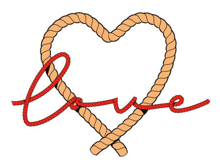 Vector illustration of the word love written with a rope over a heart.