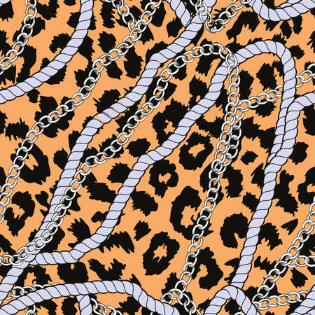 Continuous design of ropes and chains on animal print background. Pattern seamless for textile industry.