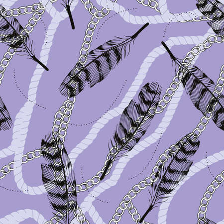Continuous design of feathers, ropes and chains on purple background. Pattern seamless for textile industry.