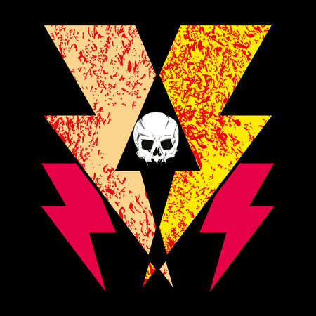 T-shirt design with electric shock symbol and human skull.