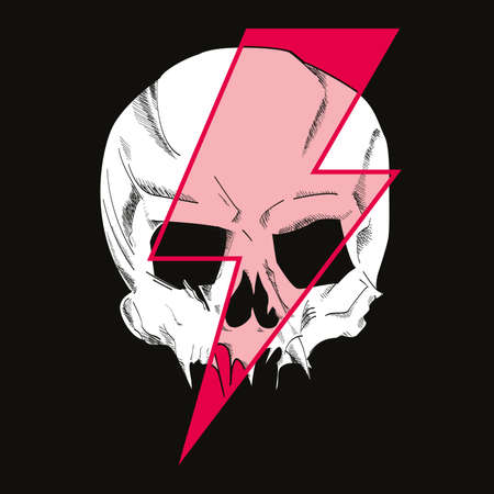 Vector illustration of a skull with lightning symbol. Design for t-shirts or posters. 矢量图像
