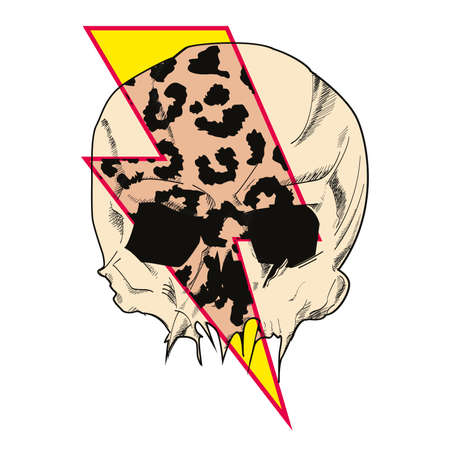 Vector illustration of a human skull crossed by lightning bolt symbol with animal print texture