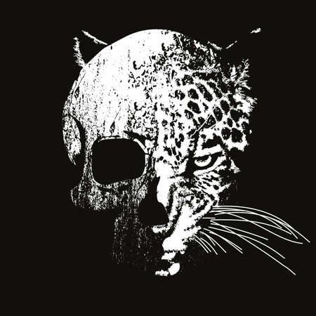 vector illustration of a human skull mixed with leopard head. Design for t-shirts or posters.