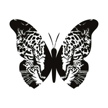 vector illustration of a butterfly mixed with a leopard