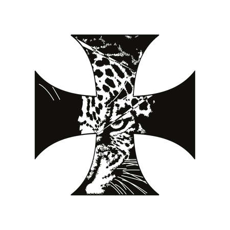 vector illustration of a black cross with a leopard head isolated on white 矢量图像