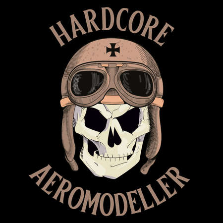 design for t-shirts with a skull wearing a war pilot's cap. vector illustration for aeromodelling.