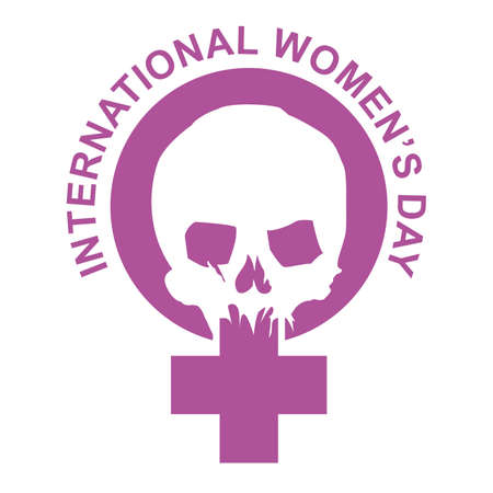 Vector illustration of the pink feminist symbol with a skull and text. Design for posters of social struggles.