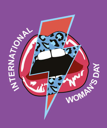 illustration for t-shirts of female lips mixed with lightning bolt symbol and text about international women's day.