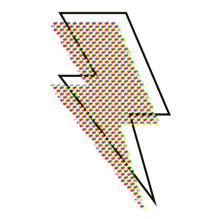 Vector illustration of the symbol of the lightning with a pattern of colored dots. Design for t-shirts, posters or stickers. 矢量图像