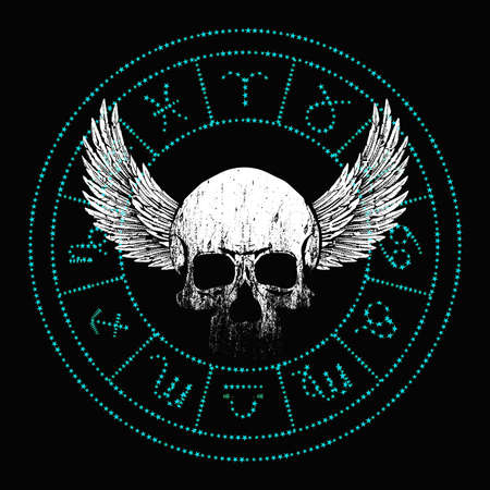 vector illustration of a winged skull and zodiac signs made up of stars. Design for t-shirts or posters.