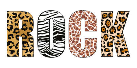 rock. Capital letters with the word Rock with animal print. Design for t-shirts, posters or stickers. 矢量图像