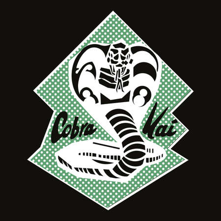 Vector illustration of a cobra about to jump isolated on black. Karate symbol for shirts or posters.