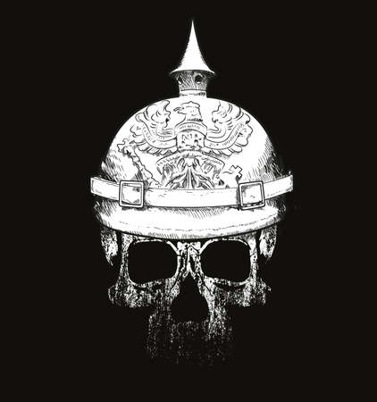 Skull with prussian helmet vector drawing isolated on black for t-shirts or posters 矢量图像