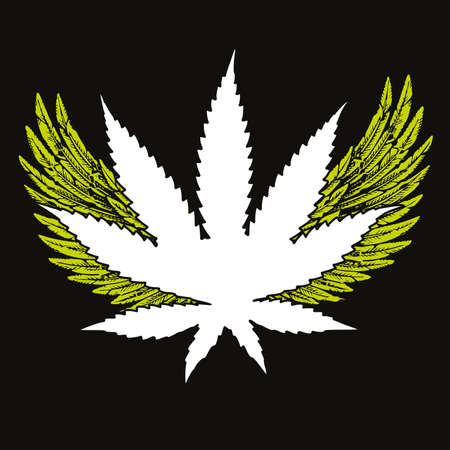 vector illustration of a cannabis leaf with two open wings. Design for posters, stickers or t-shirts. 矢量图像