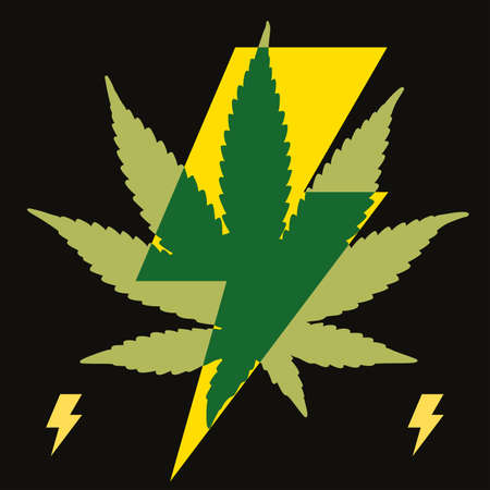 Vector illustration of lightning bolt symbol with cannabis leafisolated on black. Design for t-shirts, stickers or posters. 矢量图像