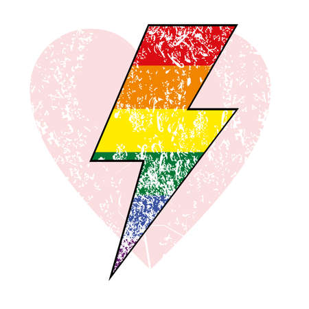 vector illustration of the lightning bolt symbol with many colors on a pink heart. Design for valentine. 矢量图像
