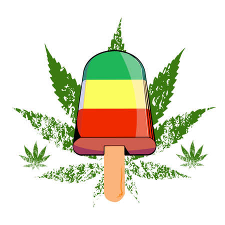vector illustration of a stick ice cream on a cannabis leafisolated on white. Design for t-shirts and stickers of the cannabis culture. 矢量图像