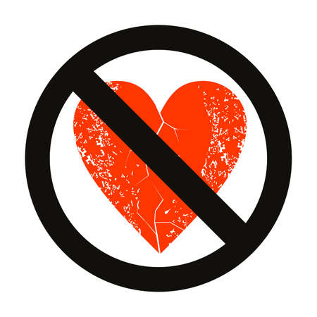 vector illustration of a red heart and the forbidden sign. Design for an anti-valentine campaign