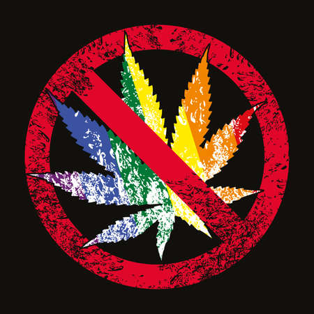 Vector illustration of a colored marijuana leaf with the forbidden sign isolated on black. Design for t-shirts and stickers of the cannabis culture.