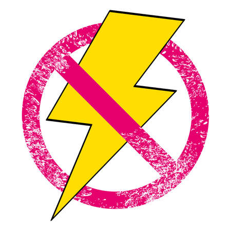 Vector illustration of the symbol of the lightning with forbidden sign isolated on white. Design for t-shirts or posters. 矢量图像