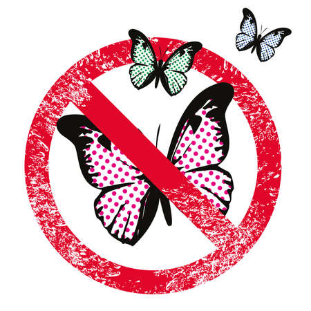 vector illustration of three butterflies with the forbidden sign isolated on white. Design for t-shirts with pop art style. 矢量图像