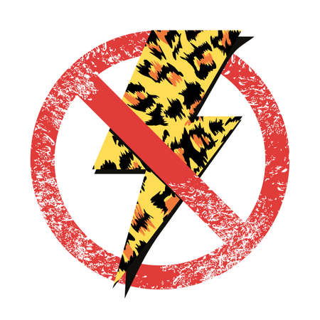 vector illustration of an animal print lightning and forbidden sign isolated on white. Design for stickers, posters or t-shirts.