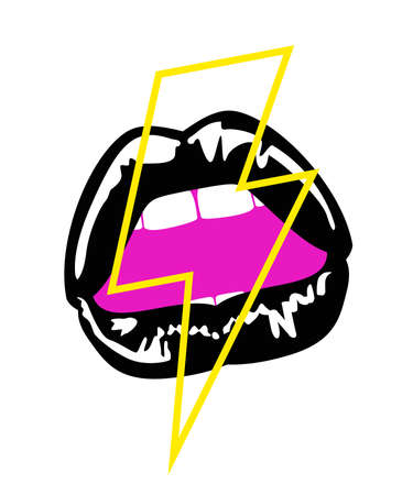 vector illustration of sensual woman lips with lightning symbol. Design for stickers, t-shirts or posters.