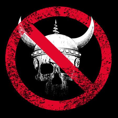 Vector illustration for human skull t-shirt with viking helmet and forbidden sign on black background