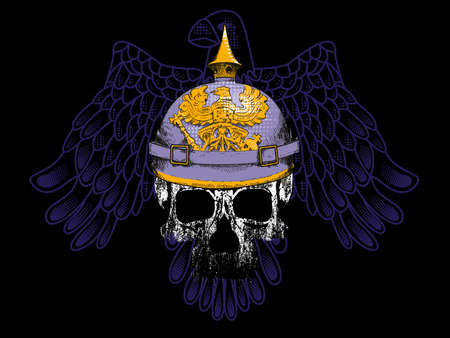 vector illustration of a skull with a German war helmet and an eagle behind. Design for t-shirts or stickers. Illustration