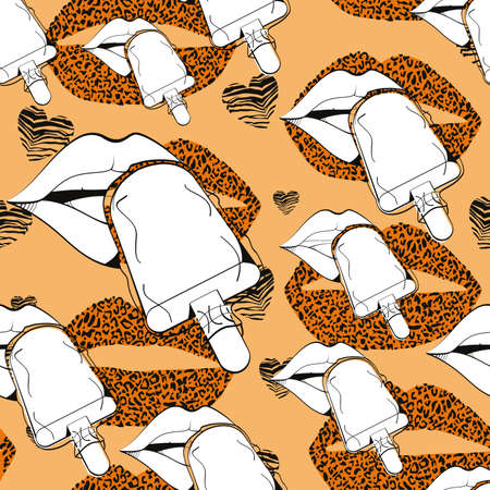 Pattern design of a leopard print lips and stick ice cream on orange background