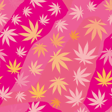 seamless pattern of cannabis leaves. Vector illustration for textile industry.