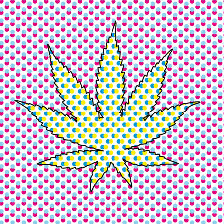 vector illustration of a cannabis leaf with pop art style. Design for cannabis culture on stickers or t-shirts.