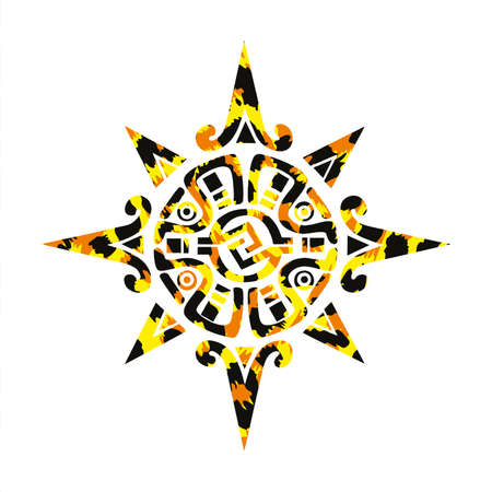 Vector illustration of the Mayan compass rose with animal print isolated on white. Primitive American culture symbol. Illustration