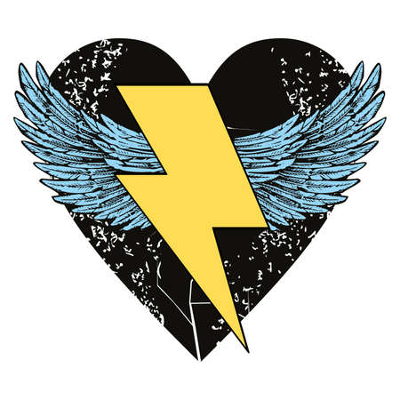 Vector illustration of the symbol of the lightning with wings on a black heart. Design for t-shirts, stickers or posters.