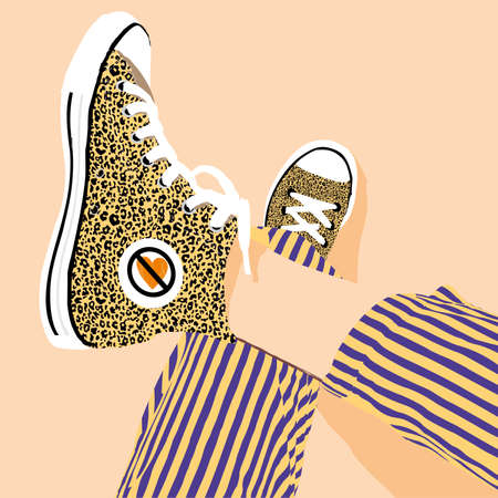 vector illustration of a pair of slippers with animal print