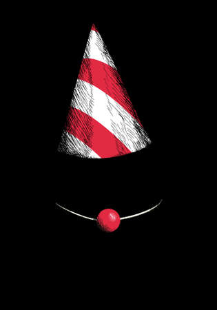 vector illustration of a paper hat and clown nose on a dark background. Illustration