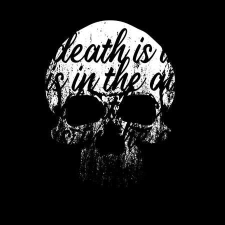 Lettering skull t-shirt design isolated on black
