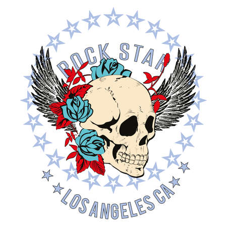 Vector design for t-shirt of a skull with wings and roses, with a circle of stars and letters isolated on white